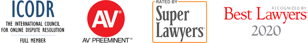 Recognized by ICODR, Martindale-Hubbell, SuperLawyers, and Best Lawyers in America 2020